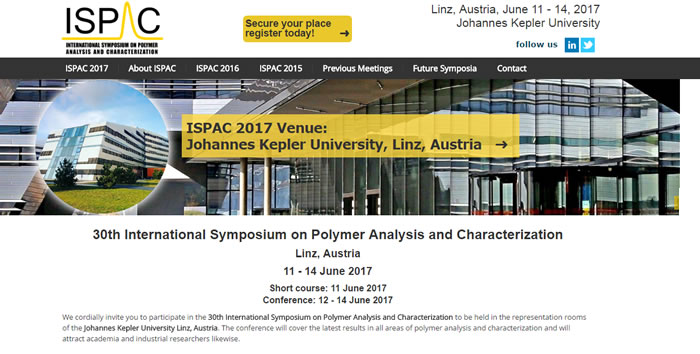 The goal of the International Symposium on Polymer Analysis and Characterization, ISPAC is to provide a forum for the cutting-edge technologies in the field of polymer analysis and characterization.