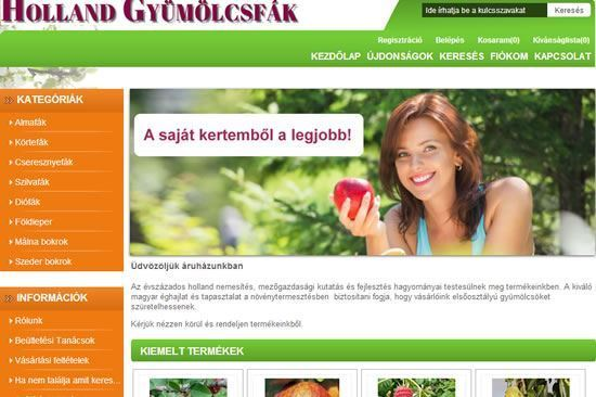Webshop for a garden centre to export fruit trees from the Netherlands to Hungary.