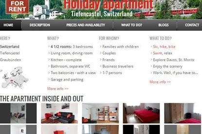 Website for vacation home rental.