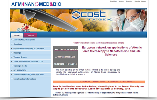 Teamwork website for European research project, COST Action TD10