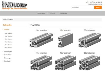 Webshop catalog for Inducomp, an aluminium profile solution company in the Netherlands.